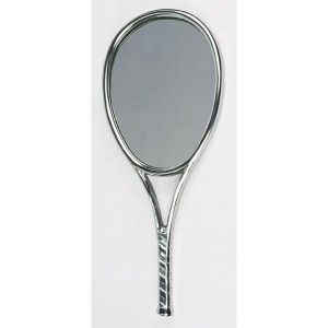 Aluminium Tennis Racket Design Wall Mirror - 65cm