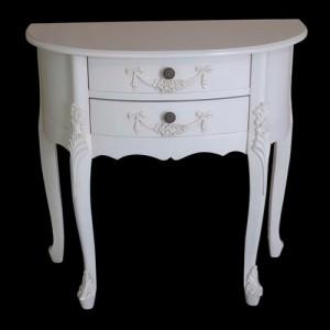 Paris Range White French Style 2 Drawer Half Moon Hall Side Tabl