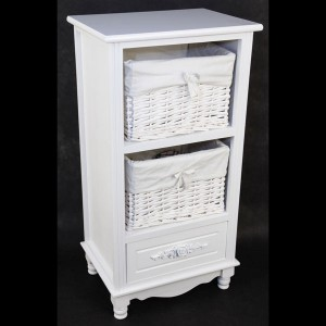 White Cabinet with 1 Drawer & 2 Baskets
