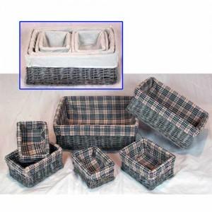 Wicker Oblong Storage Baskets Set of 6