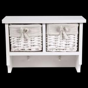 White Wall Shelf with 2 Wicker Baskets