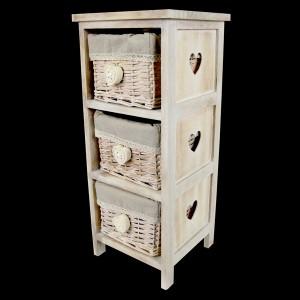 3 Wicker Basket Bedside Cabinet - Heart Handles