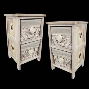 2 Wicker Basket Bedside Cabinet Heart Handles - PAIR