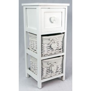 White Bedside Cabinet with 1 Drawer & 2 Baskets - Heart Handles