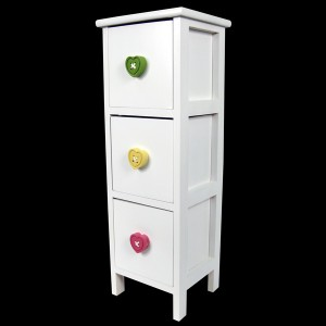 White Chest of 3 Drawers - Heart Handles