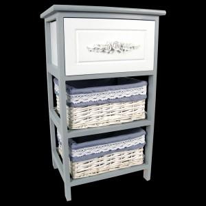 White / Wedgwood Blue 1 Drawer, 2 Basket Chest
