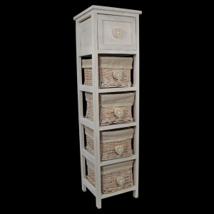 White Bedside Cabinet with 1 Drawer & 4 Baskets - Heart Handles
