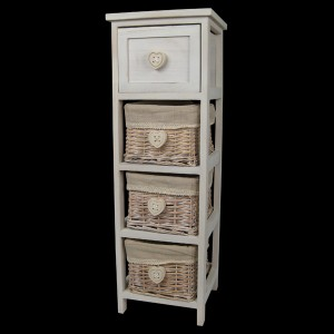 White Bedside Cabinet with 1 Drawer & 3 Baskets - Heart Handles