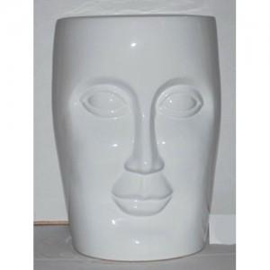 Ceramic Face Stool Garden Seat white