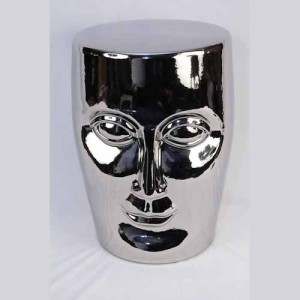 Ceramic Face Stool Garden Seat Silver