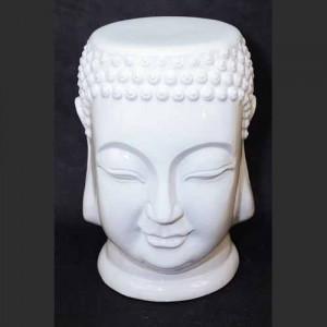 Ceramic Thai Buddha Stool Garden Seat White