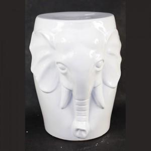Ceramic Elephant Stool Garden Seat White
