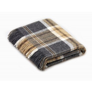 Naturally Bronte - Check - Pure New Wool - Aysgarth Charcoal Grey Throw