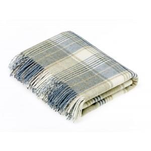 Shetland Aqua - Check - Pure New Wool - Huntingtower Aqua Throw