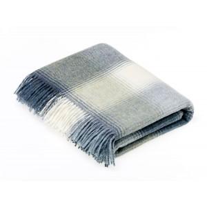 Shetland Aqua - Check - Pure New Wool - Kilnsey Aqua Throw
