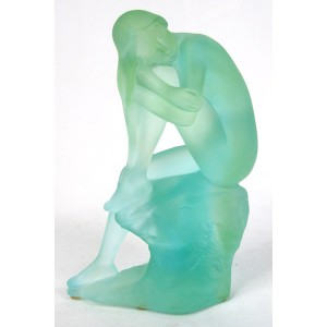 Crystal Glass Lady Sitting On Rock
