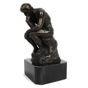 The Thinker Hot Cast Bronze Sculpture On Marble Base 16.5cm
