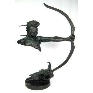 Indian Hot Cast Bronze Sculpture On Marble Base 84cm
