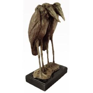 Birds Herons Bronze Sculpture On Marble Base 38cm