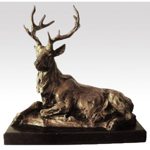 Stag Hot Cast Bronze Sculpture On Marble Base 43.5cm