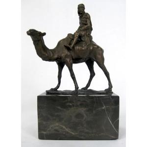 Camel & Figure Hot Cast Bronze Sculpture On Marble Base 21cm