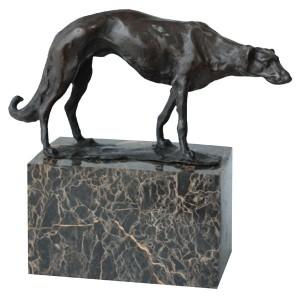 Greyhound Dog Hot Cast Bronze Sculpture On Marble Base 19cm