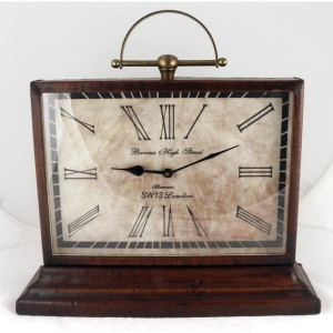 Barnes High Street Classic Table Clock Leather Finish 42cm