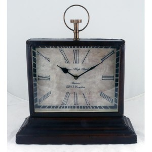 Barnes High Street Classic Table Clock Leather Finish 36cm