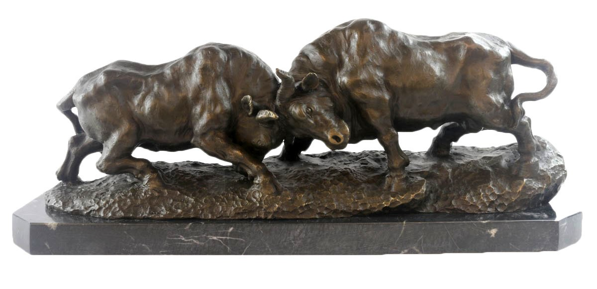 Fighting Bulls - Hot Cast Bronze Sculpture On Marble Base