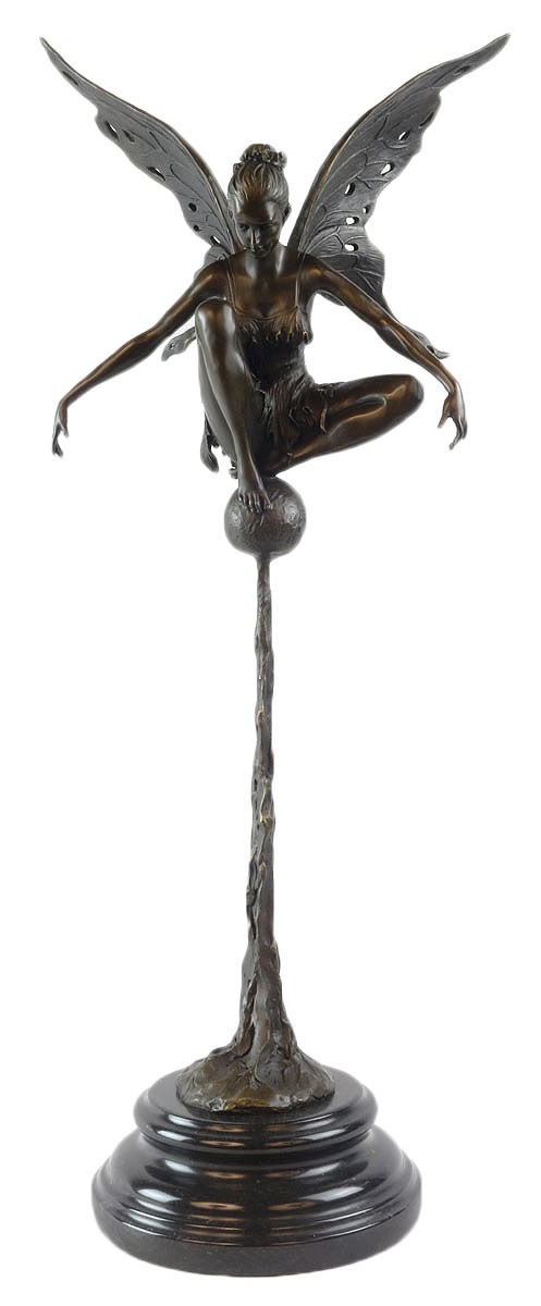 Fairy On Ball Hot Cast Bronze Sculpture On Marble Base