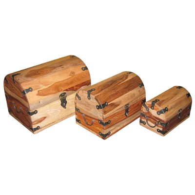 Sheesham Wood Boxes (Domed) Natural Finish - Set/3