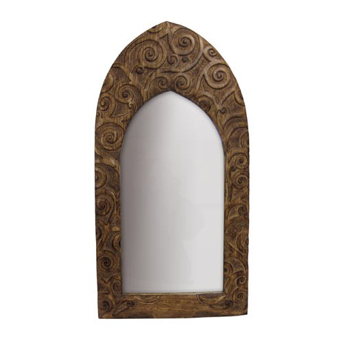 "Mango Wood Arched Gothic Mirror Tree of Life Design - 24""x12"""