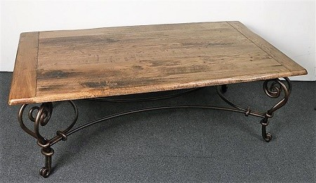 Distressed Solid Oak Coffee Table Wrought Iron Base