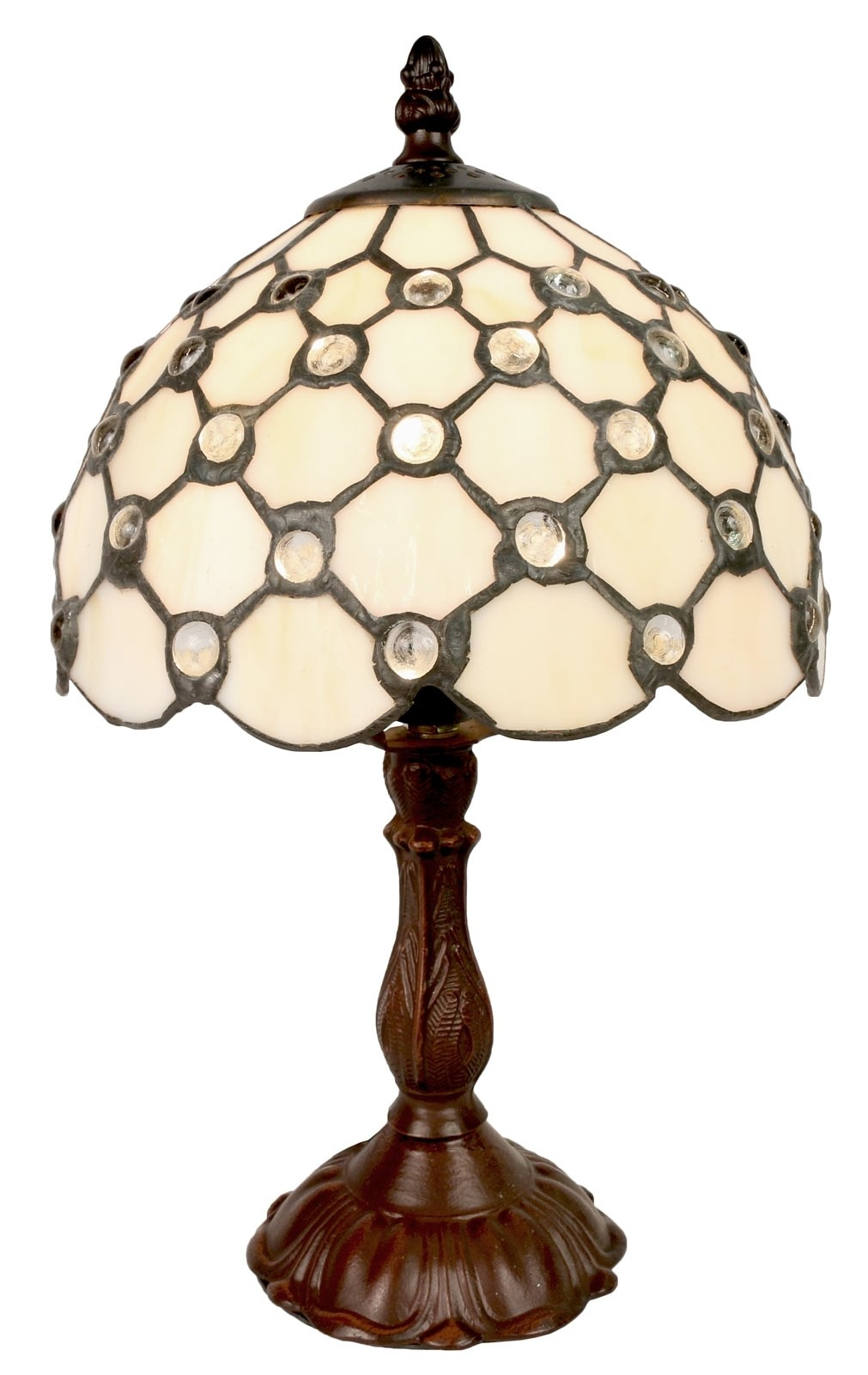 Cream Jewelled Tiffany Table Lamp Free Bulb Small