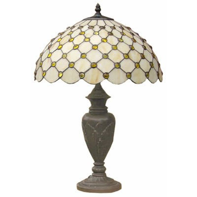 Cream Jewelled Tiffany Table Lamp + Free Bulb (Large)