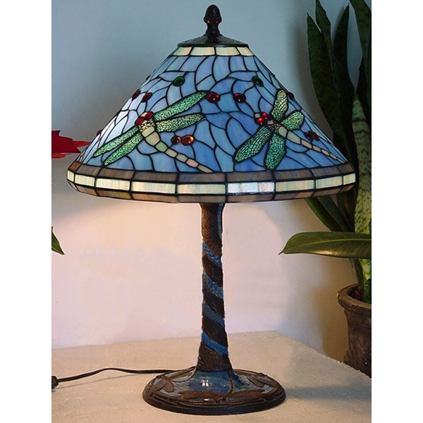 Dragonfly tiffany shade bronze tiled base table lamp free bulb aloadofball Images