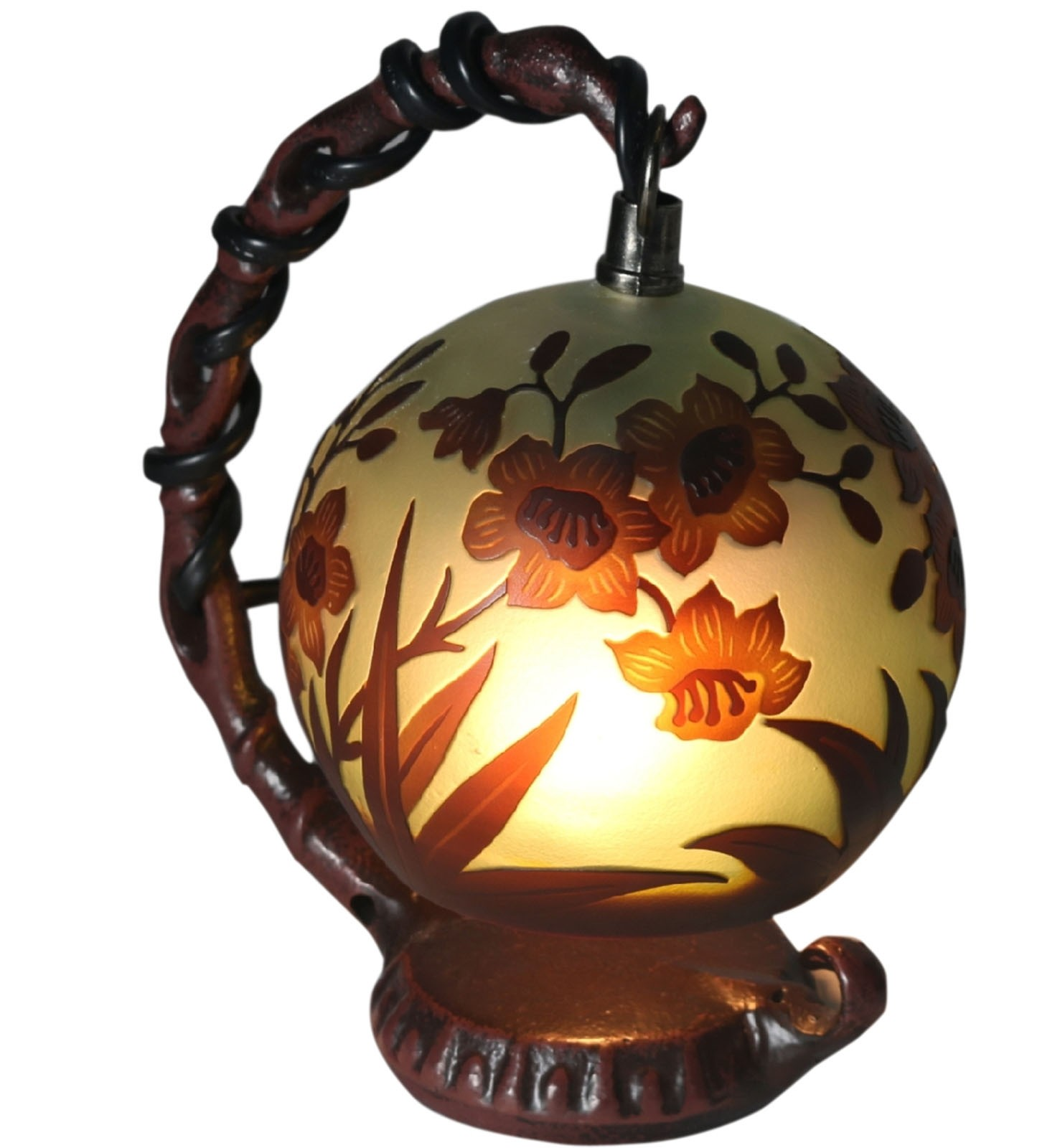 Hanging Poppy Shade Galle Style Lamp + Free Bulb