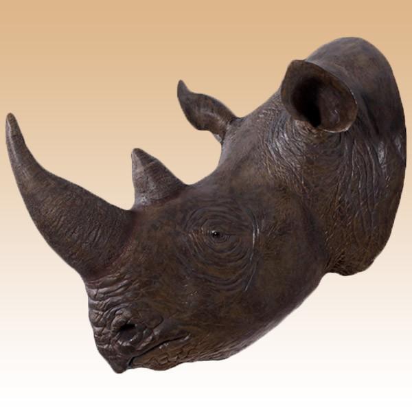 Life Size Rhinoceros Head Wall Trophy