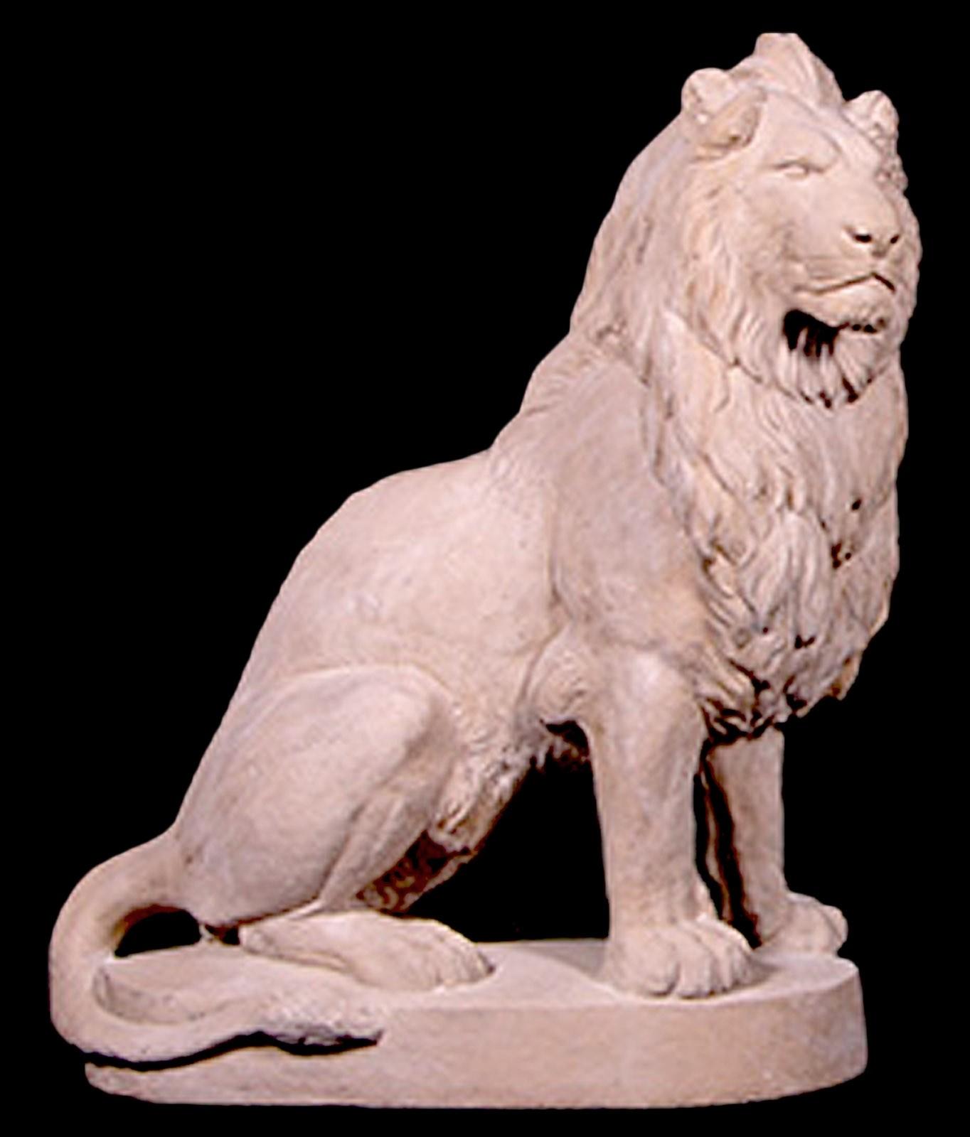 Right Facing Sitting Lion - Roman Stone Finish