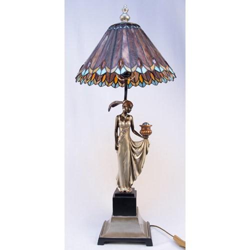 Art Deco Lady Figurine Tiffany Style Shade Table Lamp