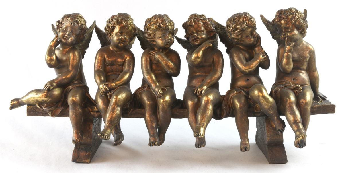 6 Cherubs On Bench Antique Gold Finish Resin Sculpture