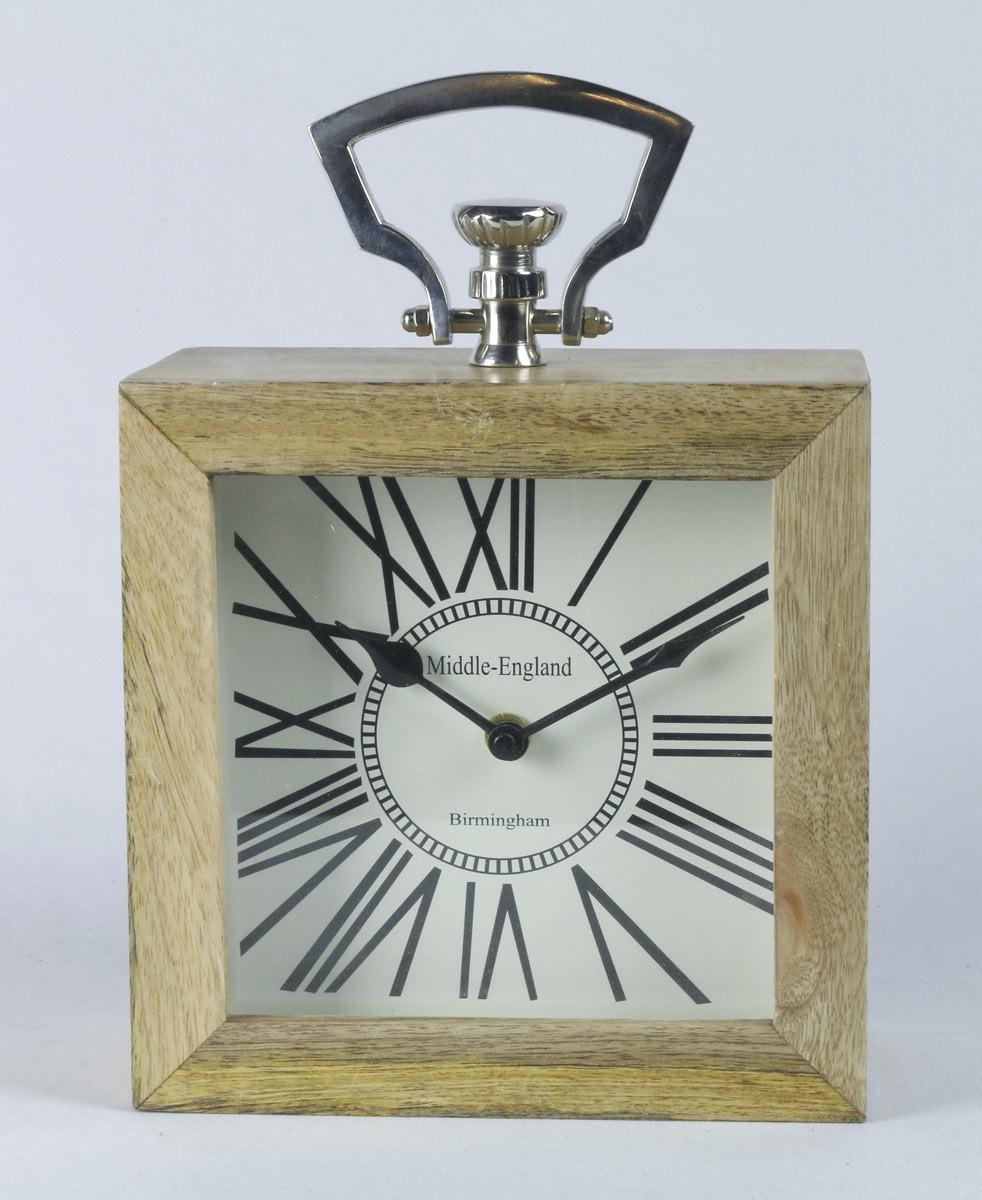 Desk Table Clock - Mango Wood And Nickel 25.4cm High - Middle England Birmingham