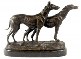 Pair Of Dogs Hot Cast Bronze Sculpture On Marble Base