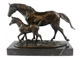 Horse And Foal Hot Cast Bronze Sculpture On Marble Base