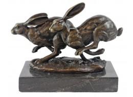 Hares Hot Cast Bronze Sculpture On Marble Base