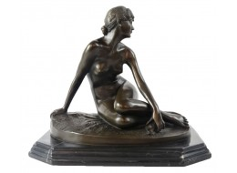 Nude Lady Hot Cast Bronze Sculpture On Marble Base