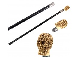 Faux Ivory Skull of Skull Heads Swagger Cane / Walking Stick