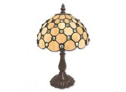 Cream Jewelled Tiffany Table Lamp + Free Bulb (Small)