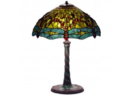 Dragonfly Tiffany Shade & Mosaic Base Table Lamp + Free Bulb