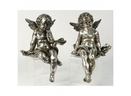 Electroplated Sitting Cherubs Resin Sculptures Set/2 24cm